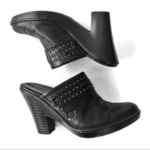 born Black leather fringe studded mule clog 7